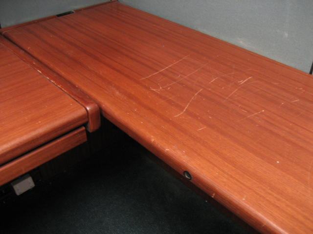 Office furniture with many scratches on top