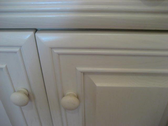 After refurbishing kitchen cabinet doors without stripping and refinishing