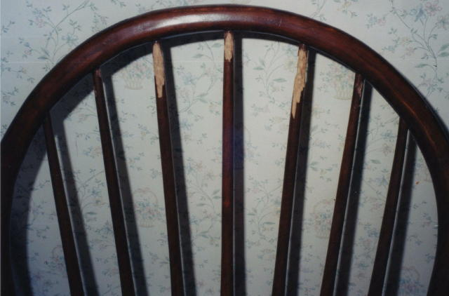 Spindles on chair back chewed by pet needs furniture repair